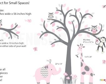 Nursery Decal, Jungle Wall Decals, Nursery Wall Decal, Giraffe, Smaller Wall Decal, Elephant, Girl Nursery, Cotton Candy Scene / Grey Tree
