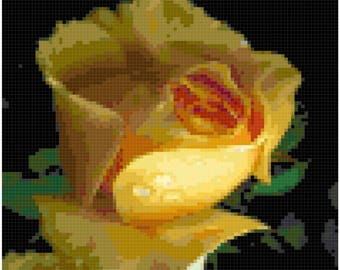 Cross Stitch Single Yellow Rose Pattern Design Chart Garden Flower Nature Home Decor PDF Digital File Instant Download
