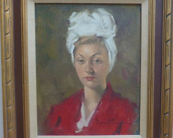 Leon Franks Original Vintage Oil Portrait of Striking Woman in Red with White 1940's Headband