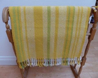 Vintage Handwoven All Wool 'Sunshine Yellow' Throw