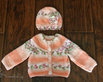 Orange Blossom Sweater and Hat Set, Knitted Floral Hat, Baby Sweater, Baby Shower Gift, The Evelyn Sweater, The Evelyn Hat, Baby Girl Outfit