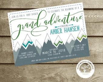 adventure baby shower invitation, boy baby shower invitation,  gender neutral, mountains, DIY, template