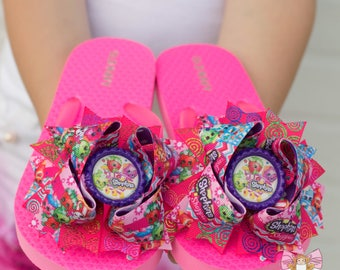 Shopkins Flip Flops~ shopkin bow flip flops, shopkin birthday party bows