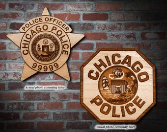 Personalized Wooden Chicago Police Officer Badge or Patch Plaque