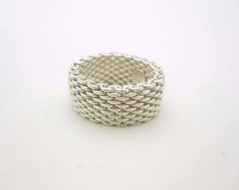 Tiffany & Co. Sterling Silver Somerset Mesh Band Ring Unisex Size 8