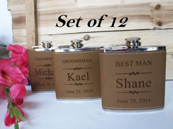 12 Leather Groomsman Flask Set // Personalized Wedding Gifts for Men ...