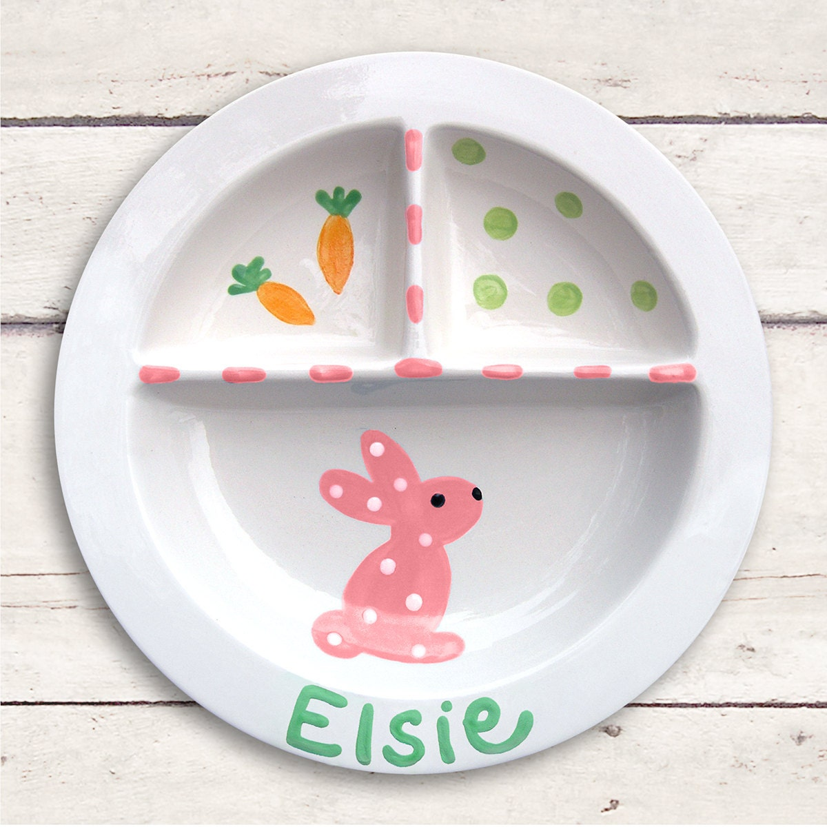 Pink Bunny Plate First Easter Personalized Easter