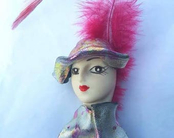 Vintage Lady Brooch with Pink Feather