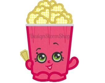 Shopkins Applique Design/Machine Embroidery Design/Shopkin Polly Popcorn/Instant Download File