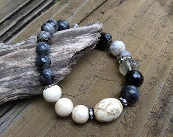 Labradorite and Agate Stack Bracelet, Black Onyx, Stacking Labradorite Bracelet