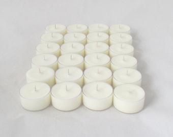 24 unscented tealight candles, 2 dozen tealights, white tealights, unscented tea lights, unscented tea candles, unscented candle
