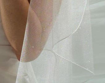 Angel Dust Sparkling Tulle Wedding Veil in Fingertip, Chapel or Cathedral Length- Free Samples