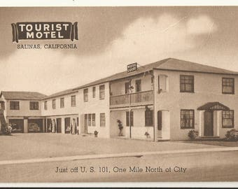 1950s  BW Photo Postcard- Roadside View of Tourist Motel, Salinas, Monterey County, California, CA. ~ Free Shipping