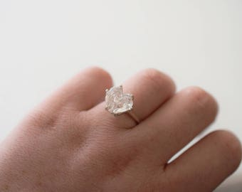 Huge Heart Diamond Engagement Ring, Raw Diamond Ring, Rough Uncut Diamond Ring, Modern Jewelry, Sterling Silver Engagement Ring, Size 7
