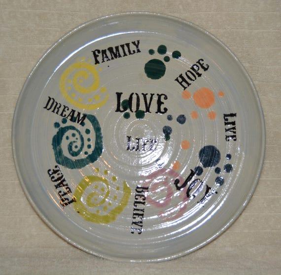 Platter, Serving Plate, Decorative Plate, Ice Blue, Inspirational Words, Swirls, Dots, Stoneware, Black, Yellow, Green, Orange, Purple