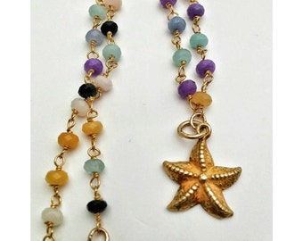 Sale Multi Agate Gemstone Rosary Chain||Rainbow Chain Necklace|18k Gold Filled Starfish|Mermaid|Beach|Oceanic Boho Jewellery