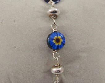 Colorful Millefiori Murano Glass Beads in sterling silver bracelet-  approx. 6.9 inches