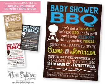 Baby Shower BBQ INVITATION. Personalized printable pdf & JPG. I design, you print.