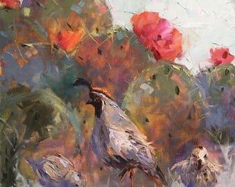 Quails, southwest, original, art, 14x18, bird, birds, decorative, oil, painting, cactus, flower