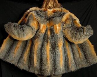 Real fur coat jacket southern grey fox