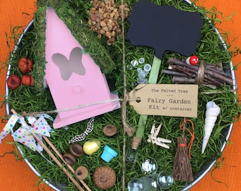Fairy garden kit with container, DIY, Pink, Yellow or Turquoise Butterfly fairy house, galvanized washtub