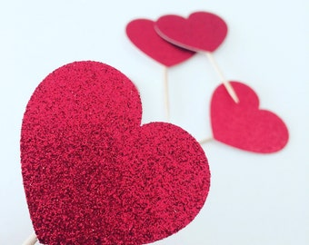 Heart Cupcake topper, Valentines cupcake topper, cupcake topper (12 toppers)