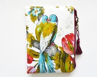 Budgie print waterproof pouch, parakeets wallet , birds discreet pouch