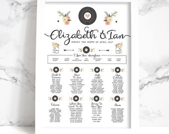 Wedding Table Plan - Printed Romantic Vinyl Record Design (Unframed)