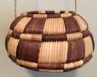 Vintage Mid Century/ Hollywood Regency Hanging Woven Basket- Native American Style