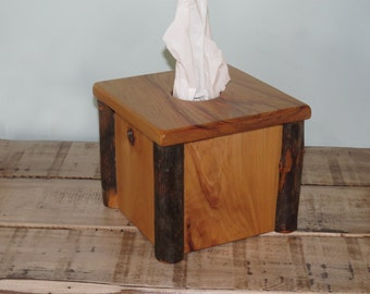 Rustic Hickory Tissue Box Cover