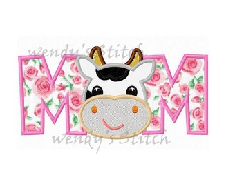 cow mom applique machine embroidery design instant download
