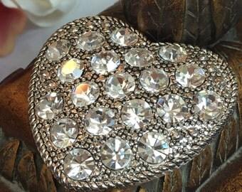 Nice heavy vintage  crystal heart LC pin brooch 1.5 inch