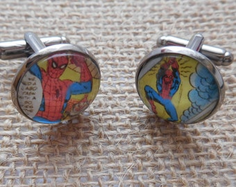 Handcrafted Spiderman Cufflinks - Fun Valentines Gift for him, Comic Book Gift, boyfriend gift or Spiderman gift for husband
