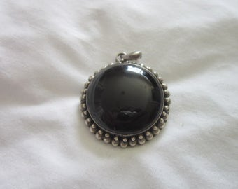Old Super Quality Native American Sterling Silver & Black Onyx Large Necklace Pendant or Brooch