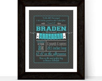 Personalized Baby Boy Birth Stats Print | For this child I prayed | Chalkboard Nursery Art | Turquoise Nursery | Newborn Baby Gift
