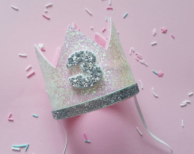 Glittery Birthday Crown | Birthday Crown | 3rd Birthday Crown | Girl Birthday Crown | Baby Birthday | Pink and Silver | Ready to Ship