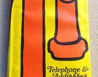 Vtg 1970s Retro Groovy MOD Address Book Telephone Hippie Flower Child Japan