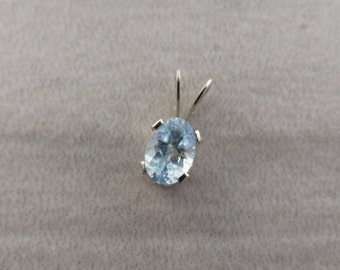Sky Blue Topaz .55 ct  6x4 mm Oval Sterling Silver Necklace Pendant