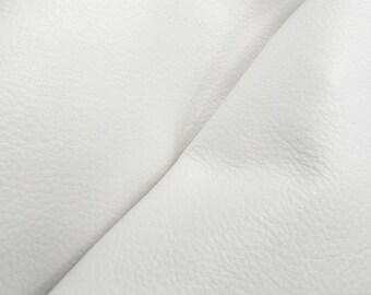 """Blissful Bright White """"Signature""""  Leather Cow Hide 12"""" x 12"""" Pre-cut 2 1/2-3 oz flat grain DE-52156 (Sec. 8,Shelf 4,D)"""