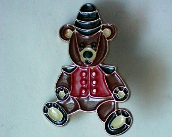 Metal Teddy Bear Christmas Bear Pin for Holidays - 4941