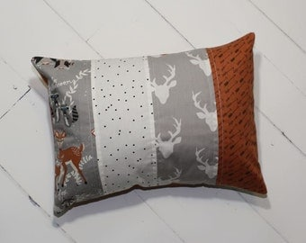 Quilted Nursery Pillow in Fog // FREE SHIPPING