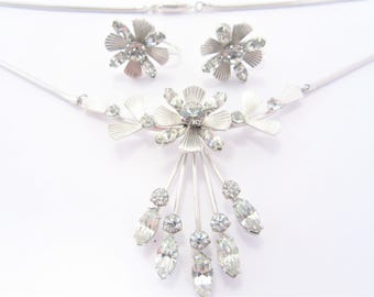 Vintage Krementz Necklace and Earrings Clear Rhinestone Jewelry Set with Box