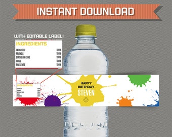 Paintball Party Printable Bottle Labels / Napkin Rings - Editable PDF file - Print at home - Paintball Birthday - Paintball Labels