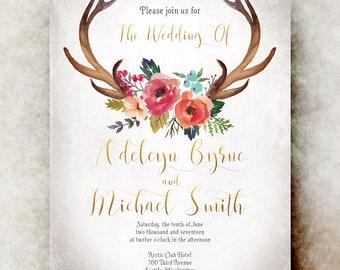 Boho Wedding Invitation printable - rustic wedding invitation, floral wedding invitation, romantic wedding invitation
