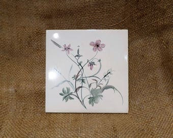 Wildflower Tile, Decorative Vintage Hand Painted German Tile, Danischburg