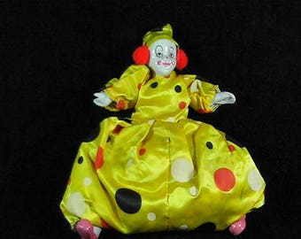 Vintage 1980's Porcelain Clown Doll, Handmade and Handpainted, Collectible Clown, Girl Clown