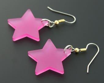 Frosted Pink Star Rockstar Superhero Jem and the Hologram Inspired Earrings