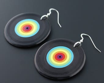 Large Rainbow Record Sterling Silver Earrings
