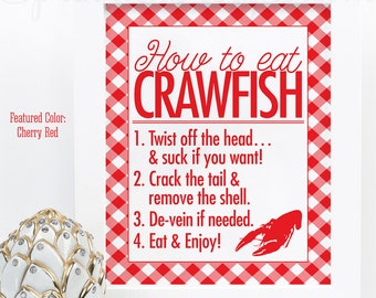 Crawfish Boil Decorations, How to Eat Crawfish Sign, Crawfish Decor, Graduation Crawfish Boil Decor, Printable Crawfish Boil Party Sign