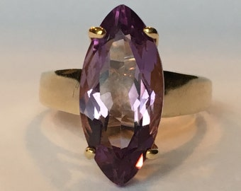 Vintage Amethyst Ring. 14K Yellow Gold Setting. 3+ Carat. Unique Engagement Ring. February Birthstone. 6th Anniversary. Estate Jewelry